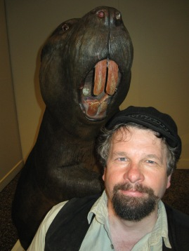 Author's photo, with beaver